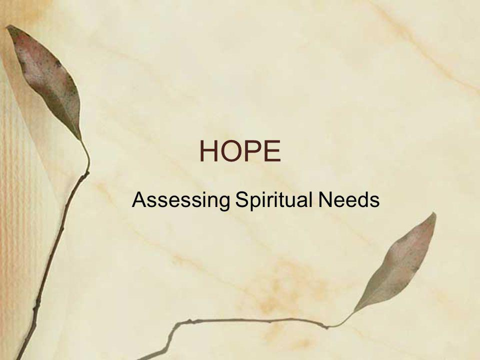 HOPE Assessing Spiritual Needs