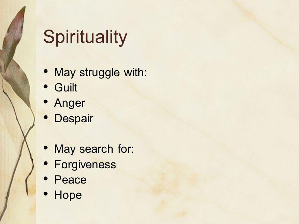 Spiritual Pain Unaddressed issues: May lead to spiritual pain Consider asking: What is most important/meaningful to you.