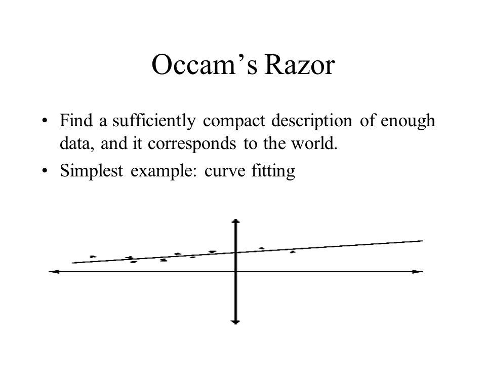 3 Formal Views of Occam's Razor Vapnik-Chervonenkis Dimension Minimum Description Length Bayesian Probability Compactness sufficient, more or less necessary, for generalization.