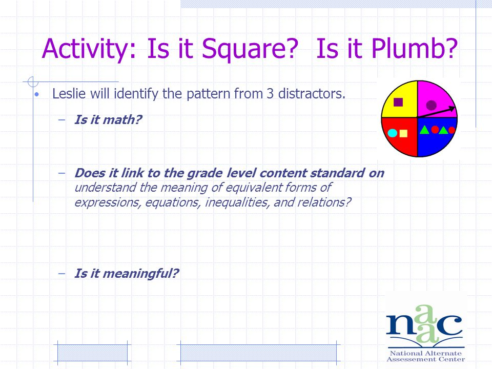Activity: Is it Square. Is it Plumb. Leslie will identify the pattern from 3 distractors.