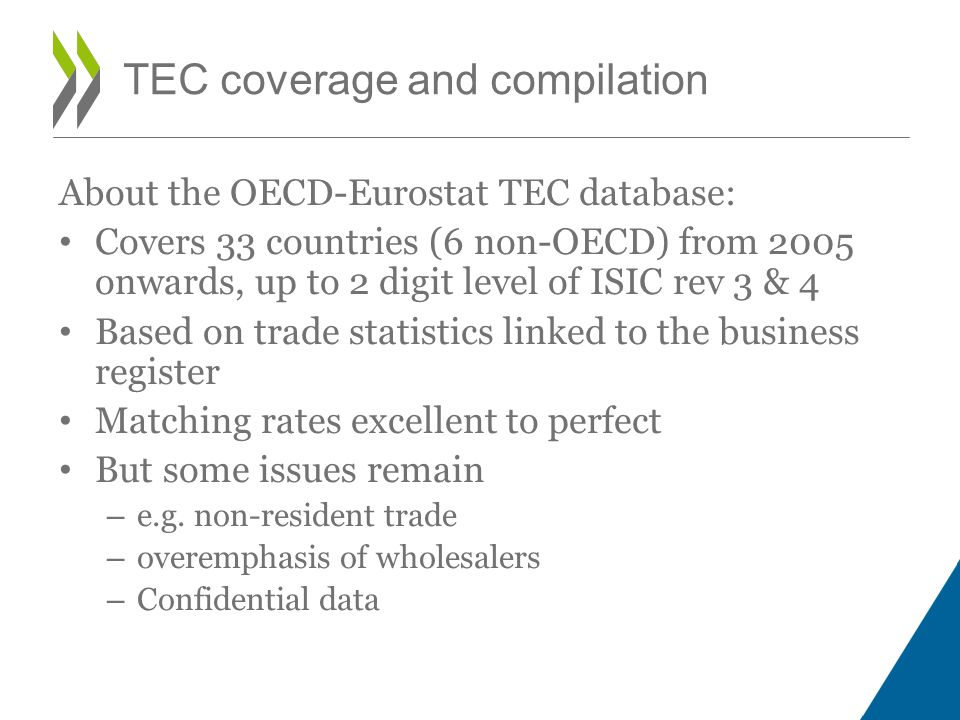 TEC coverage and compilation About the OECD-Eurostat TEC database: Covers 33 countries (6 non-OECD) from 2005 onwards, up to 2 digit level of ISIC rev 3 & 4 Based on trade statistics linked to the business register Matching rates excellent to perfect But some issues remain – e.g.