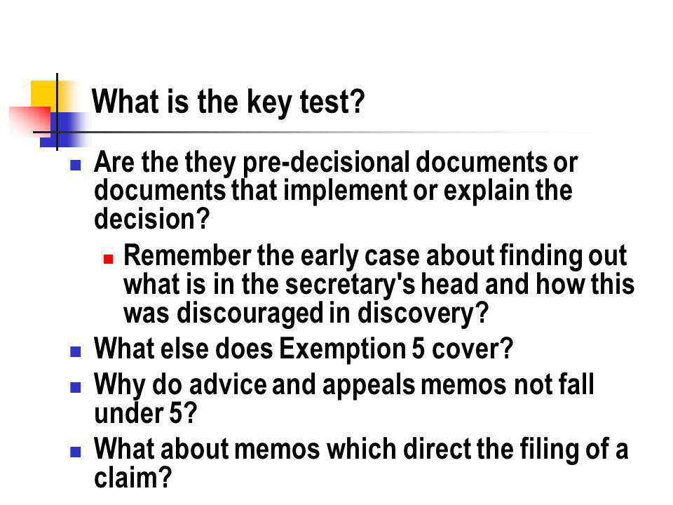 What is the key test.