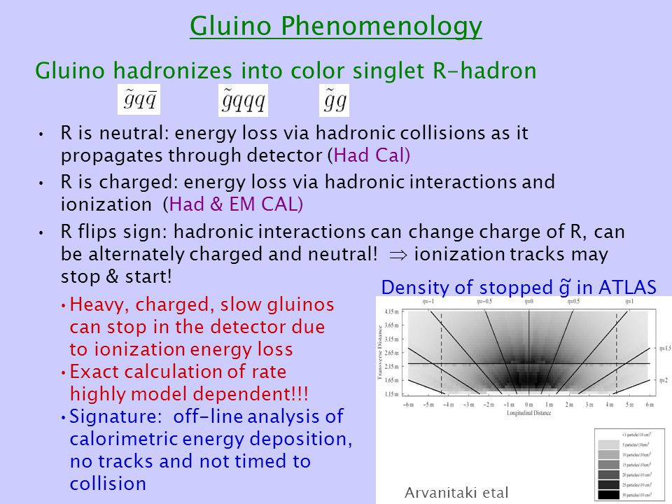 Gluino Phenomenology Gluino hadronizes into color singlet R-hadron R is neutral: energy loss via hadronic collisions as it propagates through detector