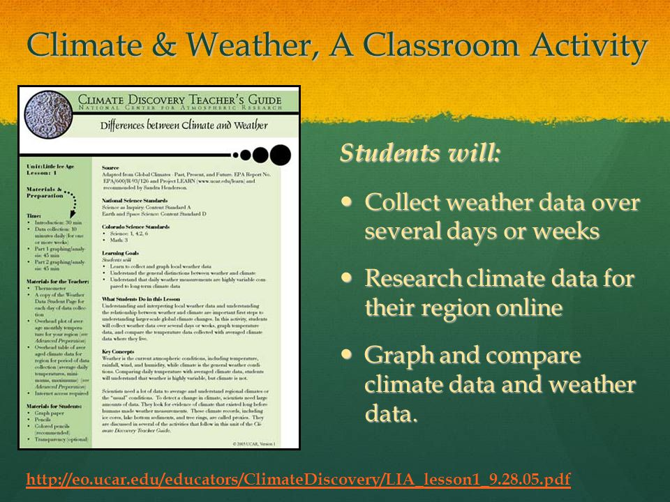 Climate & Weather, A Classroom Activity Students will: Collect weather data over several days or weeks Collect weather data over several days or weeks