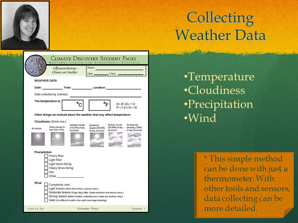Collecting Weather Data * This simple method can be done with just a thermometer.