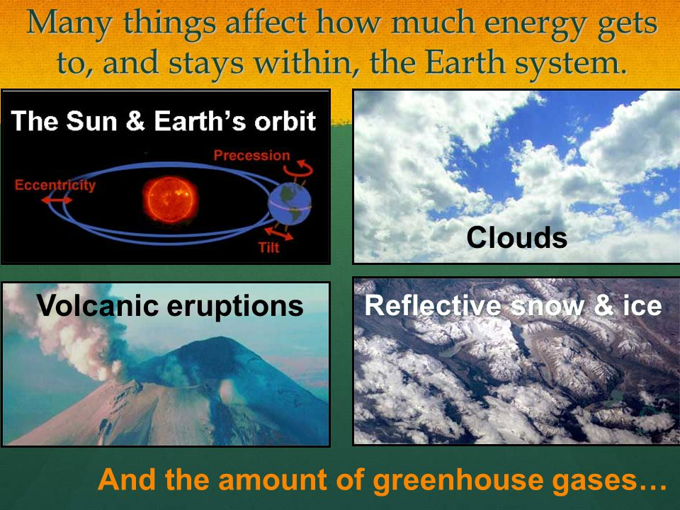 Many things affect how much energy gets to, and stays within, the Earth system. Volcanic eruptions Reflective snow & ice And the amount of greenhouse