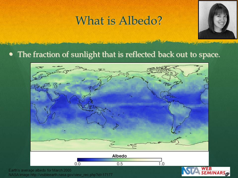What is Albedo. The fraction of sunlight that is reflected back out to space.
