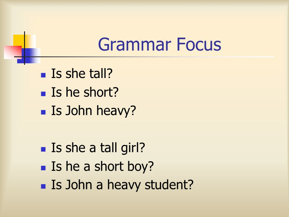 Grammar Focus Is + S + Adj Is + S + a adj N