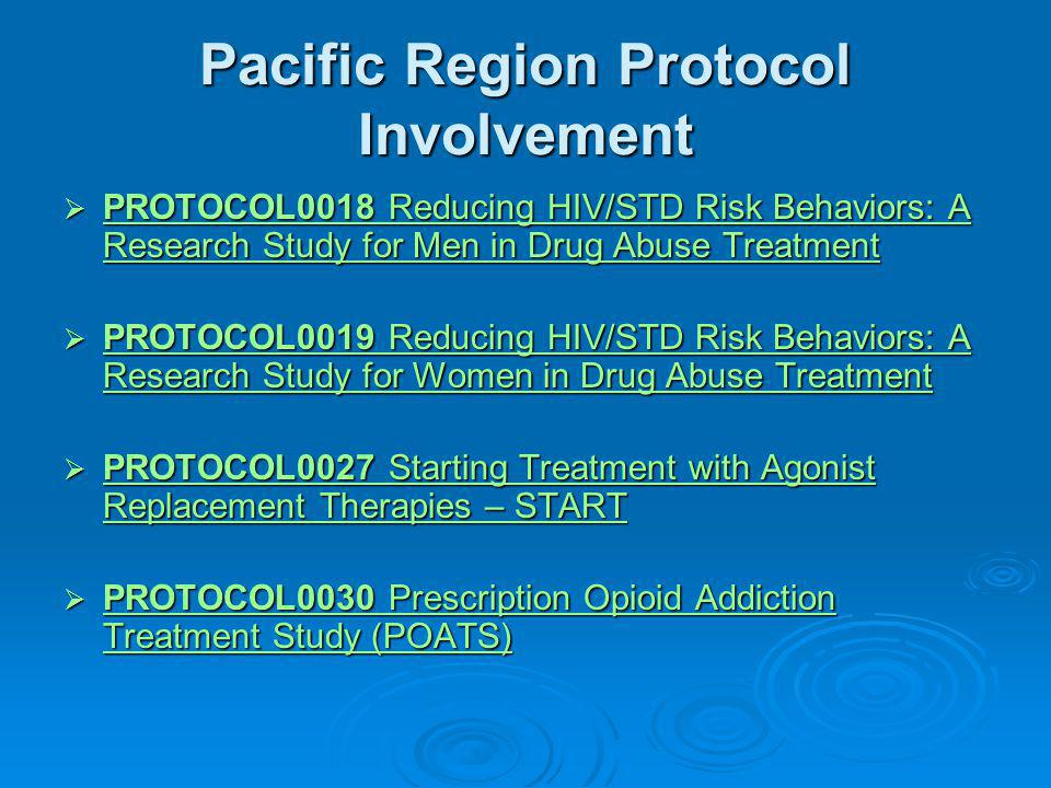 Pacific Region Protocol Involvement  PROTOCOL0018 Reducing HIV/STD Risk Behaviors: A Research Study for Men in Drug Abuse Treatment PROTOCOL0018 Reducing HIV/STD Risk Behaviors: A Research Study for Men in Drug Abuse Treatment PROTOCOL0018 Reducing HIV/STD Risk Behaviors: A Research Study for Men in Drug Abuse Treatment  PROTOCOL0019 Reducing HIV/STD Risk Behaviors: A Research Study for Women in Drug Abuse Treatment PROTOCOL0019 Reducing HIV/STD Risk Behaviors: A Research Study for Women in Drug Abuse Treatment PROTOCOL0019 Reducing HIV/STD Risk Behaviors: A Research Study for Women in Drug Abuse Treatment  PROTOCOL0027 Starting Treatment with Agonist Replacement Therapies – START PROTOCOL0027 Starting Treatment with Agonist Replacement Therapies – START PROTOCOL0027 Starting Treatment with Agonist Replacement Therapies – START  PROTOCOL0030 Prescription Opioid Addiction Treatment Study (POATS) PROTOCOL0030 Prescription Opioid Addiction Treatment Study (POATS) PROTOCOL0030 Prescription Opioid Addiction Treatment Study (POATS)
