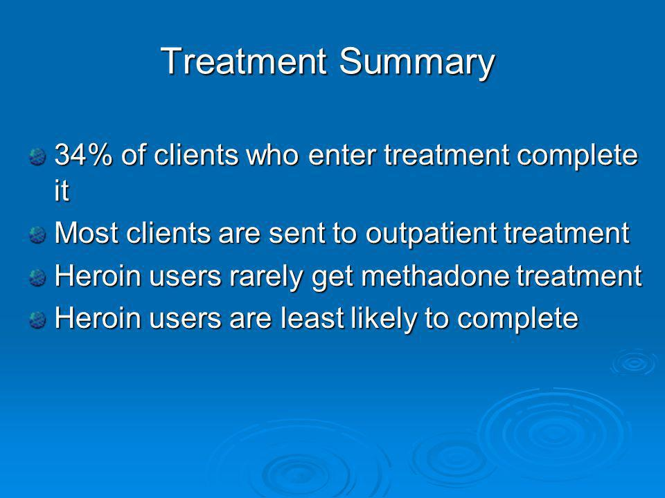 Treatment Summary 34% of clients who enter treatment complete it Most clients are sent to outpatient treatment Heroin users rarely get methadone treatment Heroin users are least likely to complete