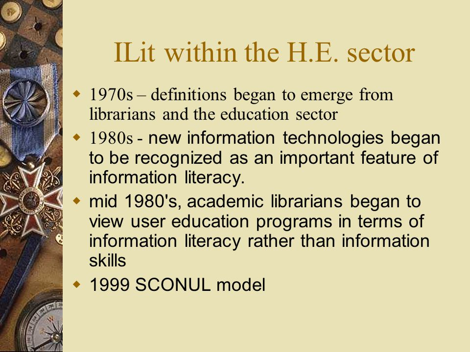 Current trends  Move towards institutional strategies / policies for ILit  Embedding in curricula  Work on assessing / evaluating effectiveness  New delivery methods –e.g.VLEs