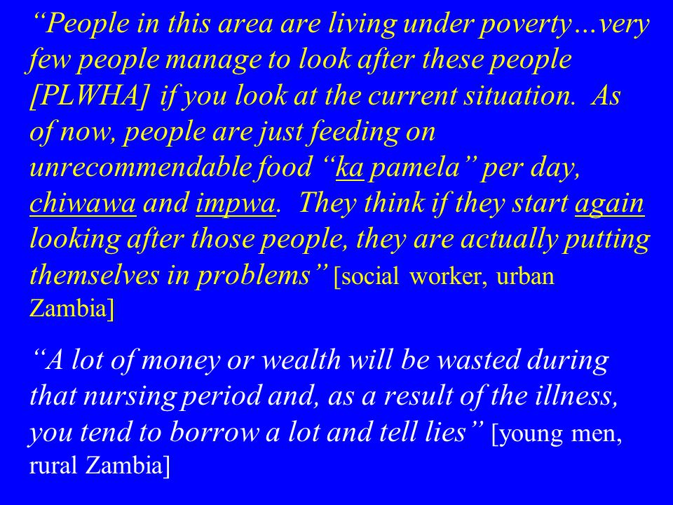 People in this area are living under poverty…very few people manage to look after these people [PLWHA] if you look at the current situation.
