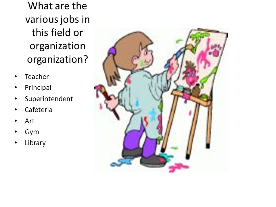 What are the various jobs in this field or organization organization? Teacher Principal Superintendent Cafeteria Art Gym Library
