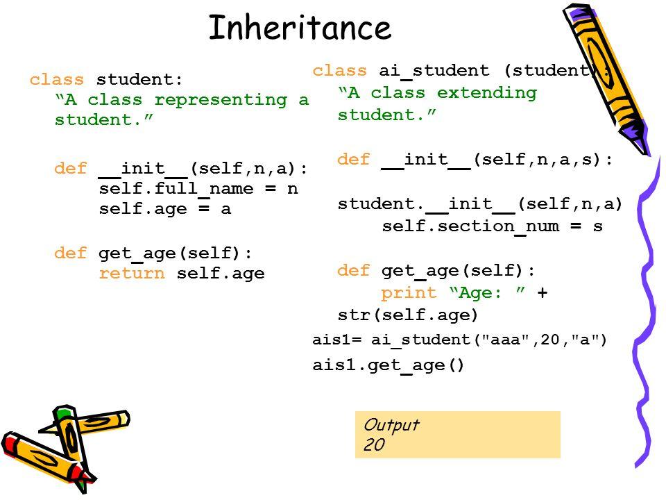 "Inheritance class student: ""A class representing a student."" def __init__(self,n,a): self.full_name = n self.age = a def get_age(self): return self.ag"