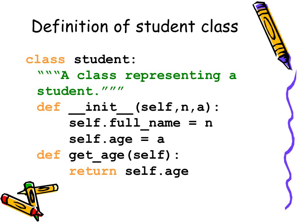 Inheritance class student: A class representing a student. def __init__(self,n,a): self.full_name = n self.age = a def get_age(self): return self.age class ai_student (student): A class extending student. def __init__(self,n,a,s): student.__init__(self,n,a) self.section_num = s def get_age(self): print Age: + str(self.age) ais1= ai_student( aaa ,20, a ) ais1.get_age() Output 20