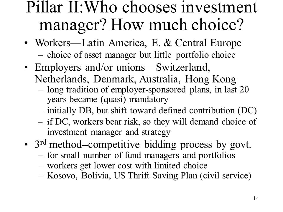 14 Pillar II:Who chooses investment manager. How much choice.