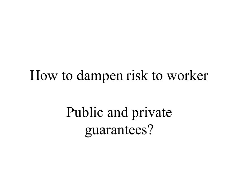 How to dampen risk to worker Public and private guarantees