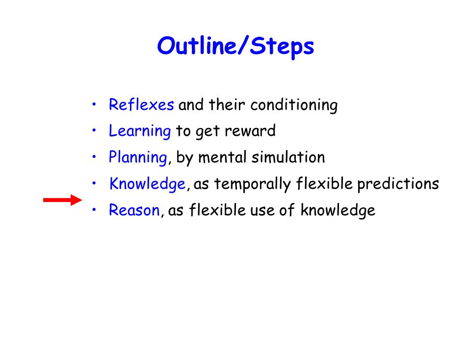 Outline/Steps Reflexes and their conditioning Learning to get reward Planning, by mental simulation Knowledge, as temporally flexible predictions Reason, as flexible use of knowledge