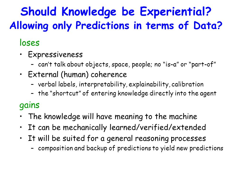 Should Knowledge be Experiential. Allowing only Predictions in terms of Data.