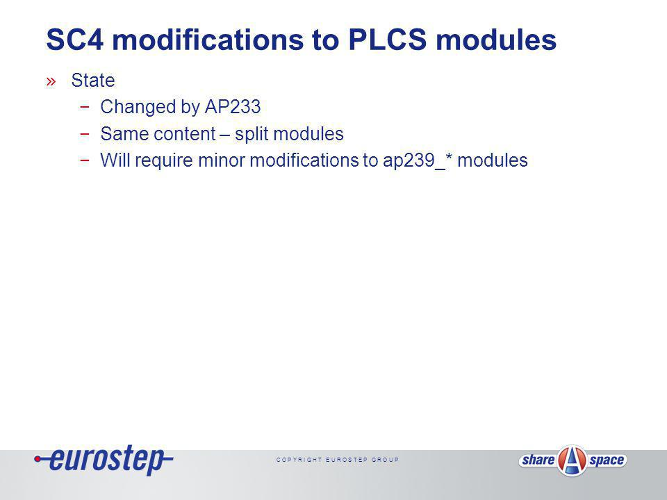C O P Y R I G H T E U R O S T E P G R O U P SC4 modifications to PLCS modules » State −Changed by AP233 −Same content – split modules −Will require minor modifications to ap239_* modules