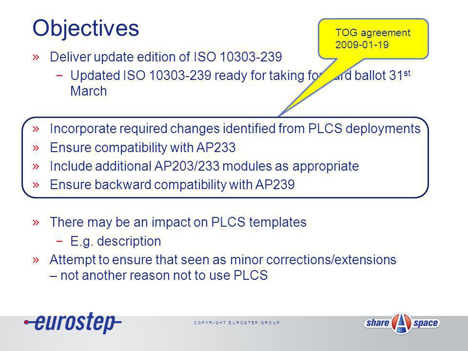 C O P Y R I G H T E U R O S T E P G R O U P Use of AP203/233 modules by PLCS » Should we incorporate all of 233 modules.