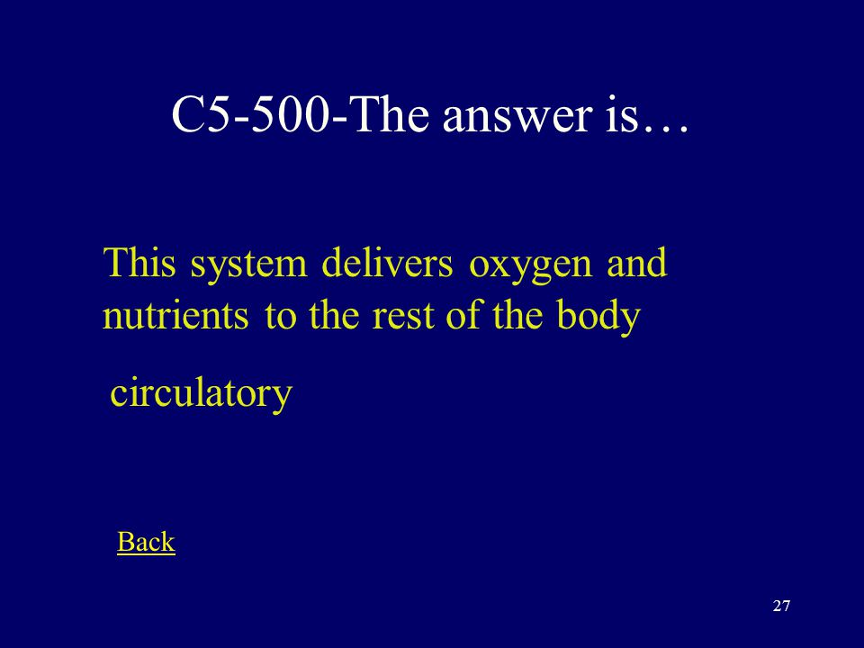 26 C5-400-The answer is… This term refers to a body part that is away from the median of the body distal Back