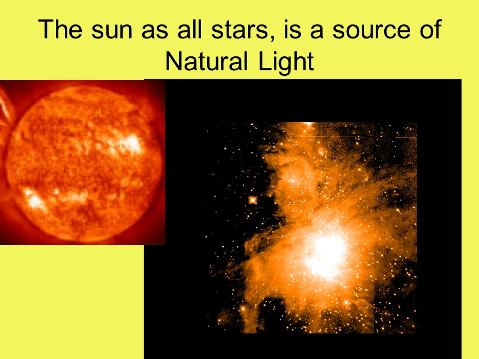 The sun as all stars, is a source of Natural Light