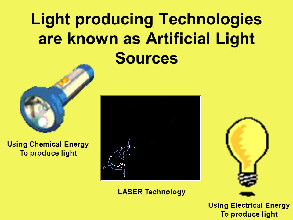 Light producing Technologies are known as Artificial Light Sources Using Chemical Energy To produce light Using Electrical Energy To produce light LAS