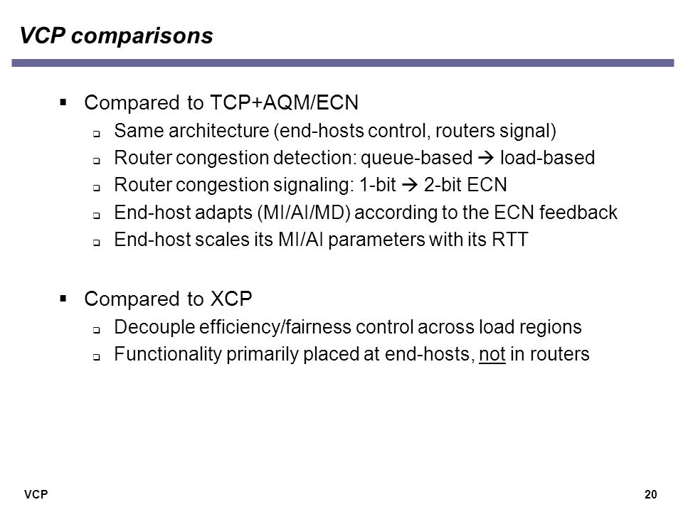 VCP VCP comparisons 20  Compared to TCP+AQM/ECN  Same architecture (end-hosts control, routers signal)  Router congestion detection: queue-based  load-based  Router congestion signaling: 1-bit  2-bit ECN  End-host adapts (MI/AI/MD) according to the ECN feedback  End-host scales its MI/AI parameters with its RTT  Compared to XCP  Decouple efficiency/fairness control across load regions  Functionality primarily placed at end-hosts, not in routers