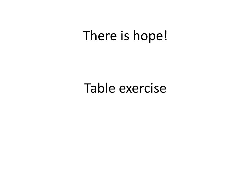 There is hope! Table exercise