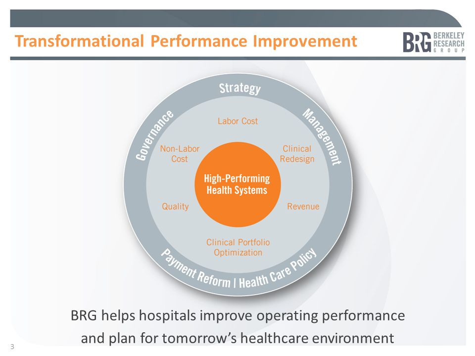 3 Transformational Performance Improvement BRG helps hospitals improve operating performance and plan for tomorrow's healthcare environment