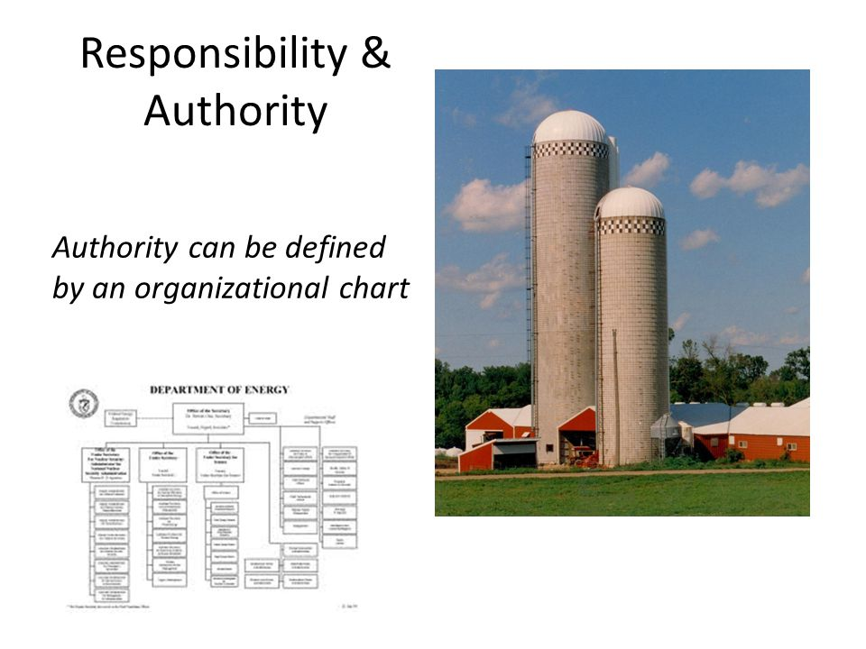 Responsibility & Authority Authority can be defined by an organizational chart