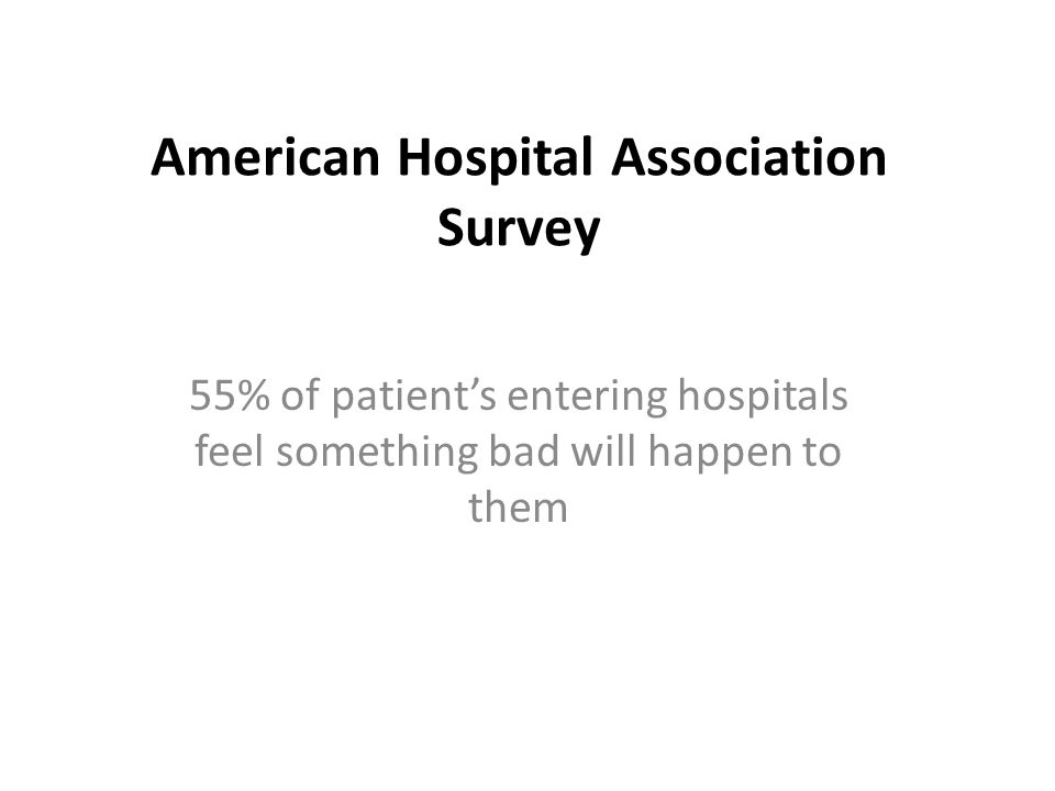 American Hospital Association Survey 55% of patient's entering hospitals feel something bad will happen to them