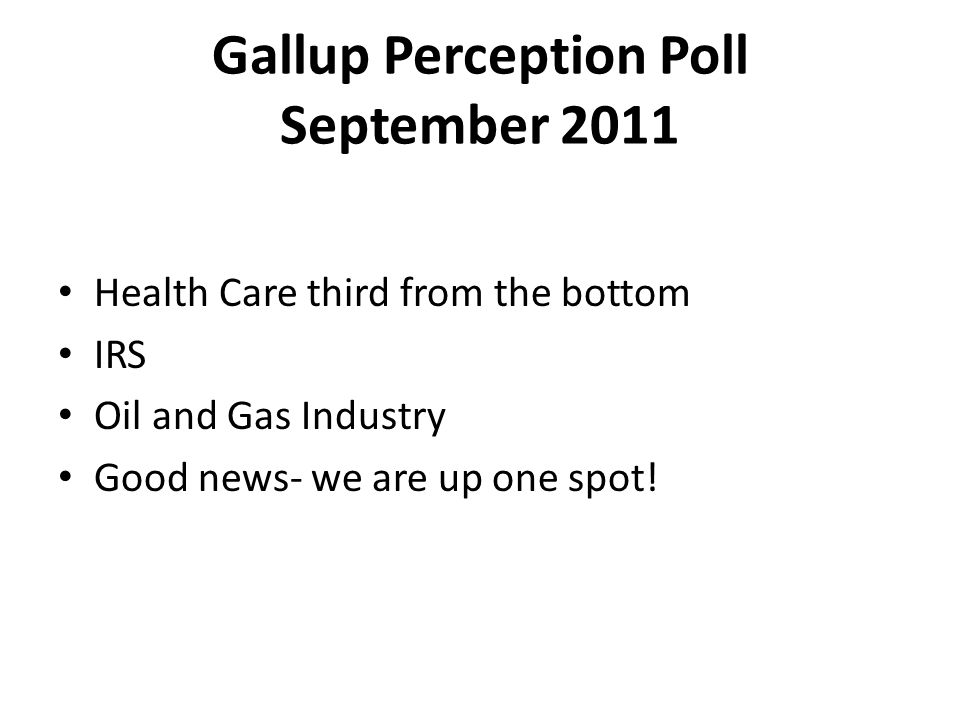 Gallup Perception Poll September 2011 Health Care third from the bottom IRS Oil and Gas Industry Good news- we are up one spot!