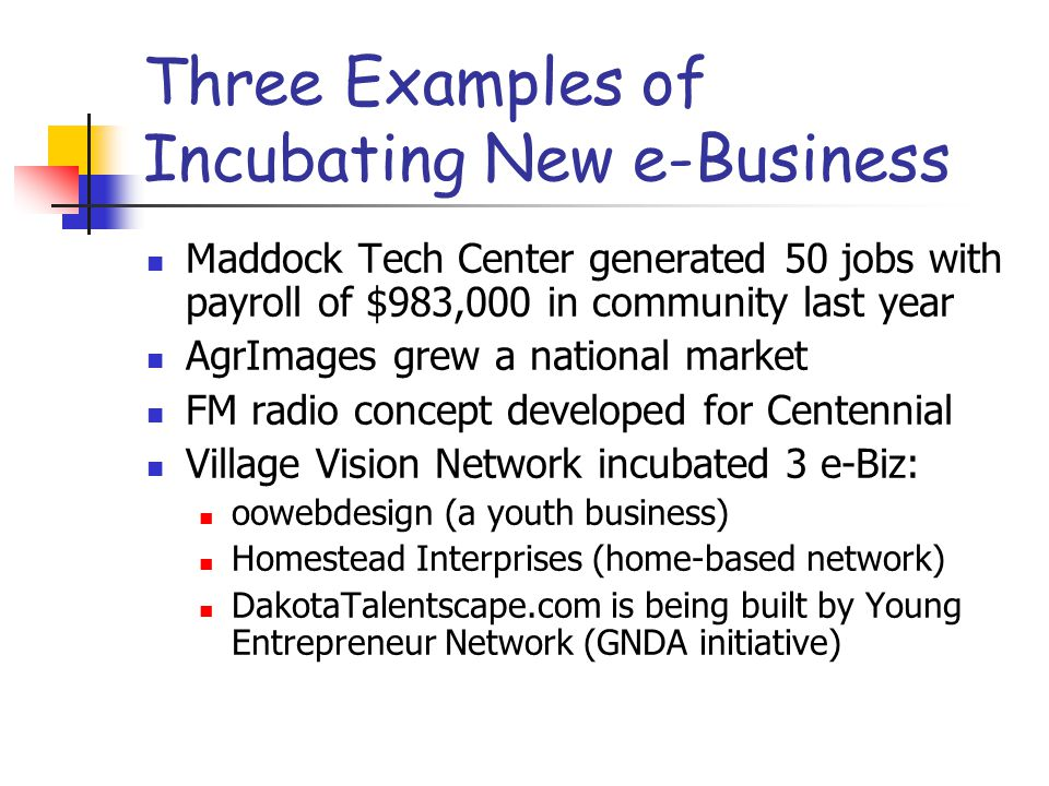 Three Examples of Incubating New e-Business Maddock Tech Center generated 50 jobs with payroll of $983,000 in community last year AgrImages grew a national market FM radio concept developed for Centennial Village Vision Network incubated 3 e-Biz: oowebdesign (a youth business) Homestead Interprises (home-based network) DakotaTalentscape.com is being built by Young Entrepreneur Network (GNDA initiative)