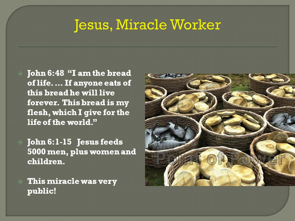 "Jesus, Miracle Worker  John 6:48 ""I am the bread of life. … If anyone eats of this bread he will live forever. This bread is my flesh, which I give f"