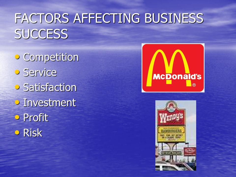 FACTORS AFFECTING BUSINESS SUCCESS Competition Competition Service Service Satisfaction Satisfaction Investment Investment Profit Profit Risk Risk