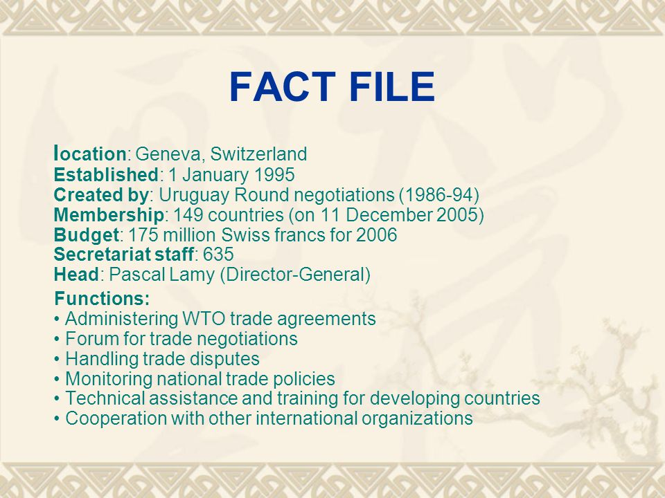 China and the WTO  China was one of the 23 original signatories of the General Agreement on Tariffs and Trade (GATT) in 1948.