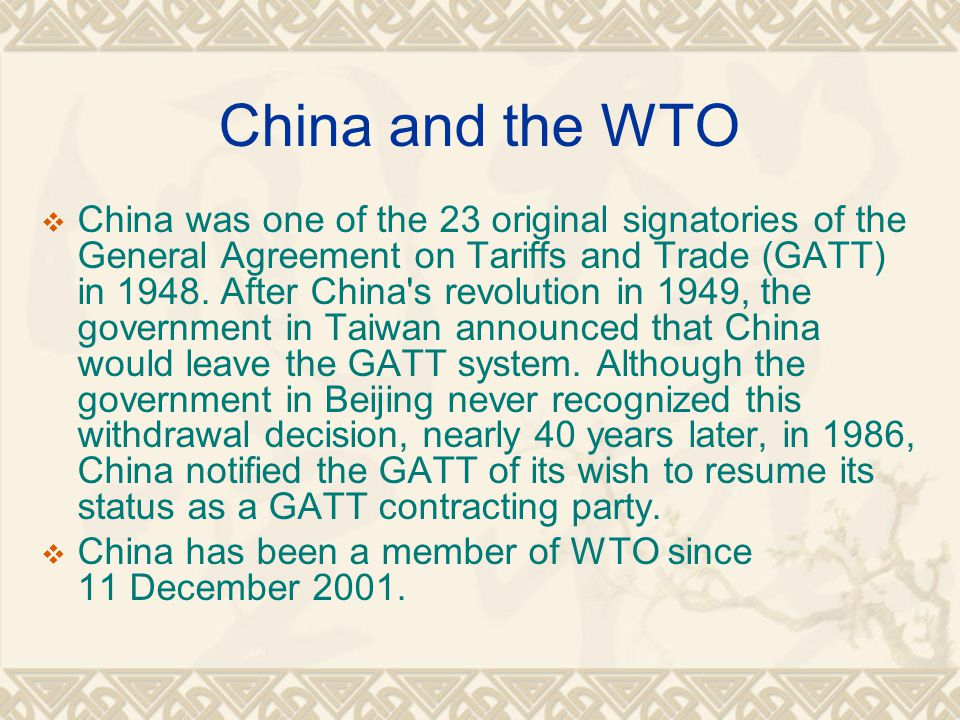  As a result of the negotiations, China has agreed to undertake a series of important commitments to open and liberalize its regime in order to better integrate in the world economy and offer a more predictable environment for trade and foreign investment in accordance with WTO rules.