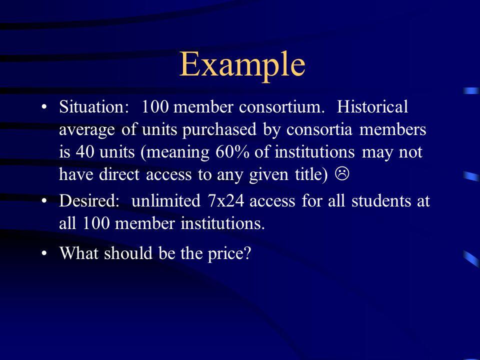 Example Situation: 100 member consortium.