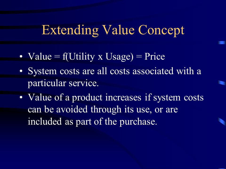 Extending Value Concept Value = f(Utility x Usage) = Price System costs are all costs associated with a particular service.