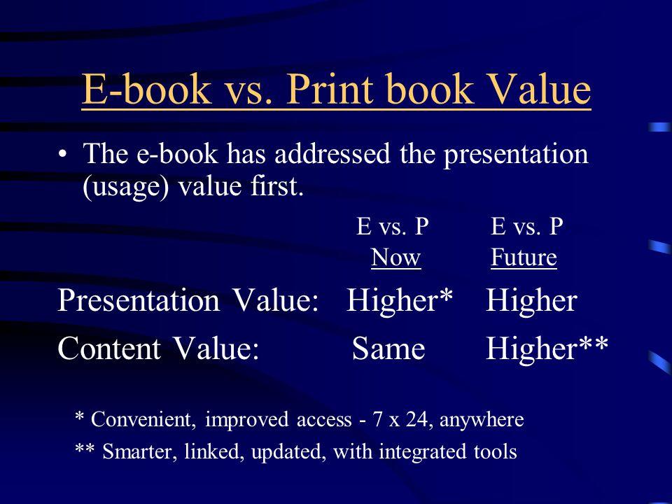 E-book vs. Print book Value The e-book has addressed the presentation (usage) value first.