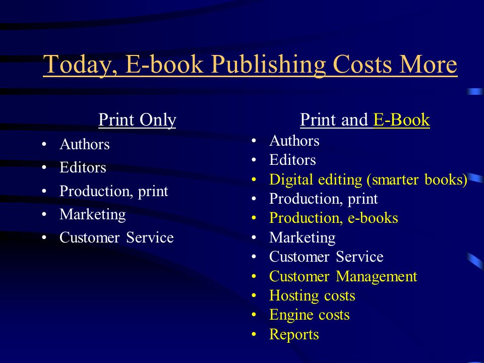 Today, E-book Publishing Costs More Print Only Authors Editors Production, print Marketing Customer Service Print and E-Book Authors Editors Digital editing (smarter books) Production, print Production, e-books Marketing Customer Service Customer Management Hosting costs Engine costs Reports