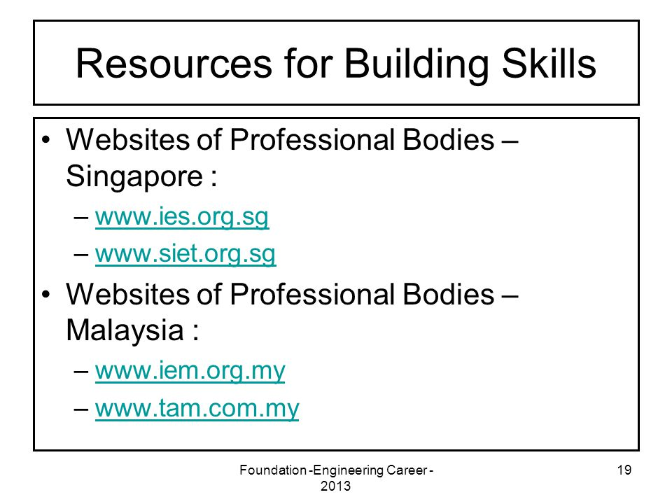 Foundation -Engineering Career - 2013 19 Resources for Building Skills Websites of Professional Bodies – Singapore : –www.ies.org.sgwww.ies.org.sg –ww
