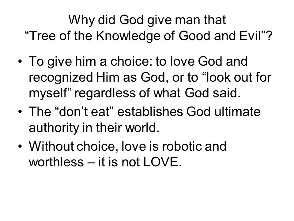 Why did God give man that Tree of the Knowledge of Good and Evil .