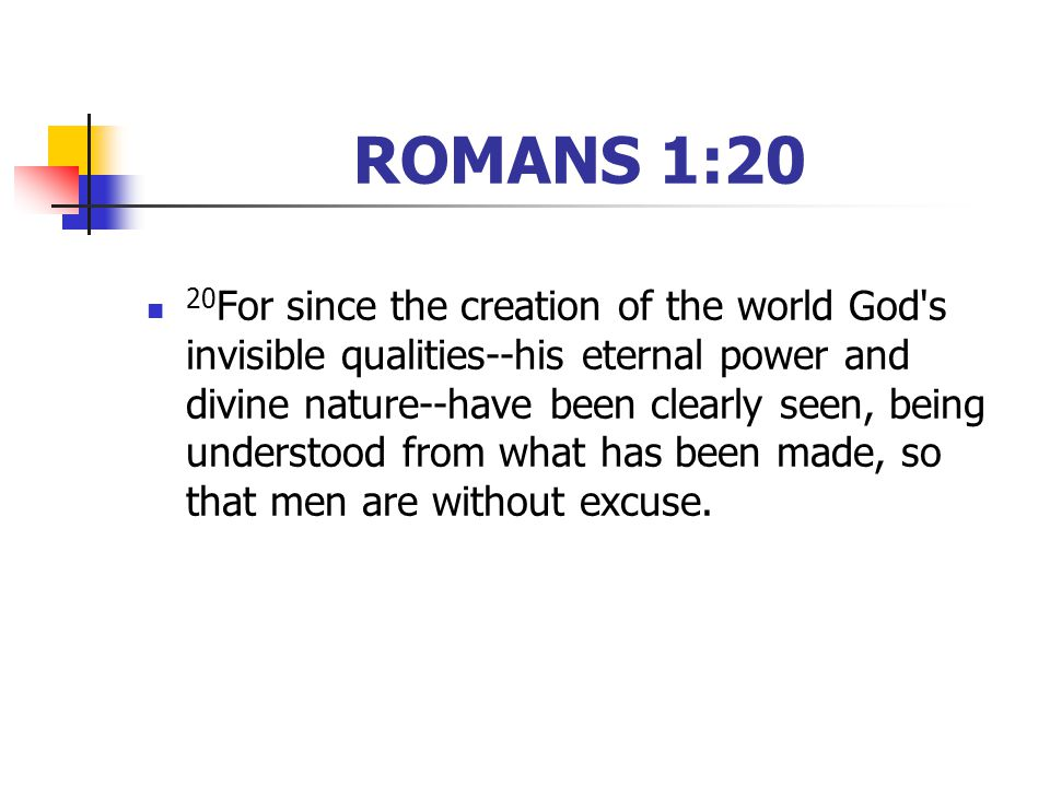ROMANS 1:20 20 For since the creation of the world God s invisible qualities--his eternal power and divine nature--have been clearly seen, being understood from what has been made, so that men are without excuse.