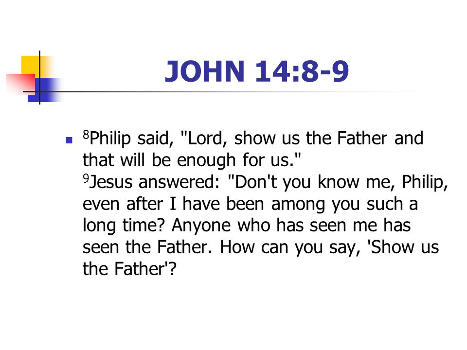 JOHN 14:8-9 8 Philip said, Lord, show us the Father and that will be enough for us. 9 Jesus answered: Don t you know me, Philip, even after I have been among you such a long time.