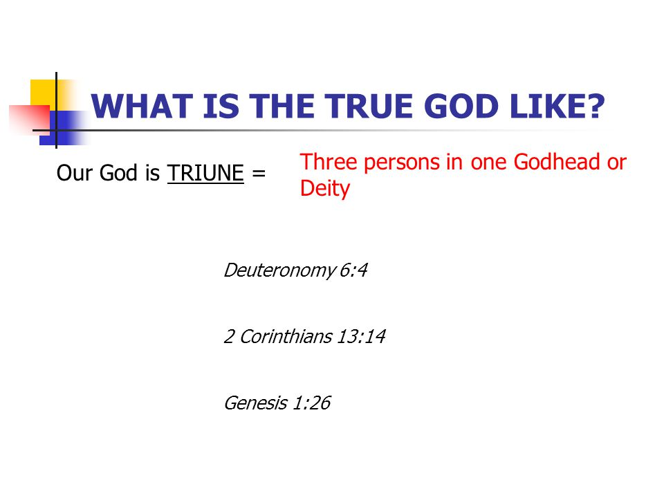 WHAT IS THE TRUE GOD LIKE.
