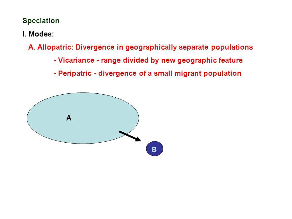 Speciation I. Modes: A.