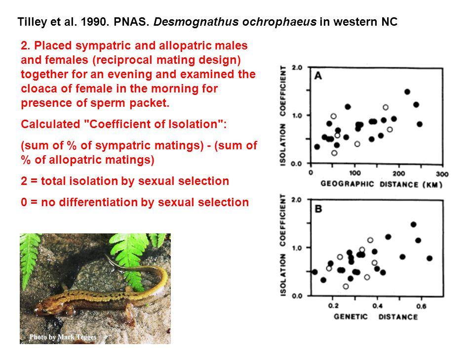 Tilley et al. 1990. PNAS. Desmognathus ochrophaeus in western NC 2.
